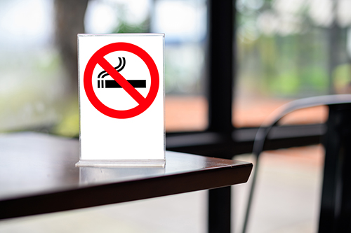 No smoking sign on table small